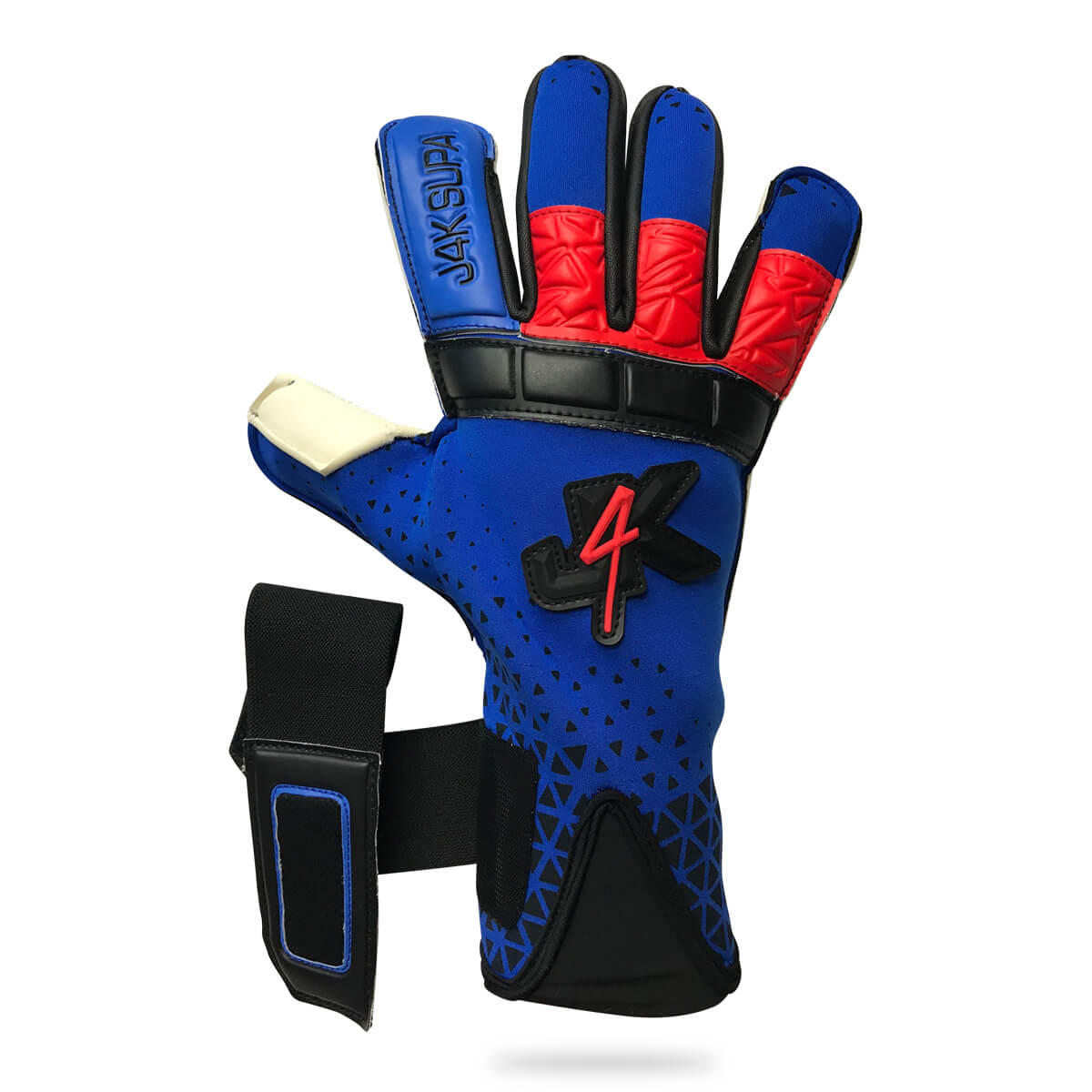 Adult Blue J4K SUPA GRIP HYBRID NRX goalkeeper glove