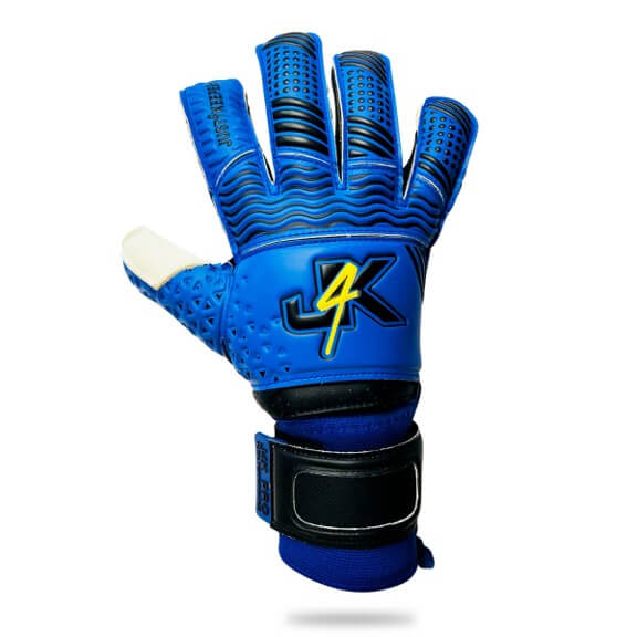 Youth J4K PRO GRIP HYBRID FR1 Youth Junior blue goalkeeper gloves just4keepers