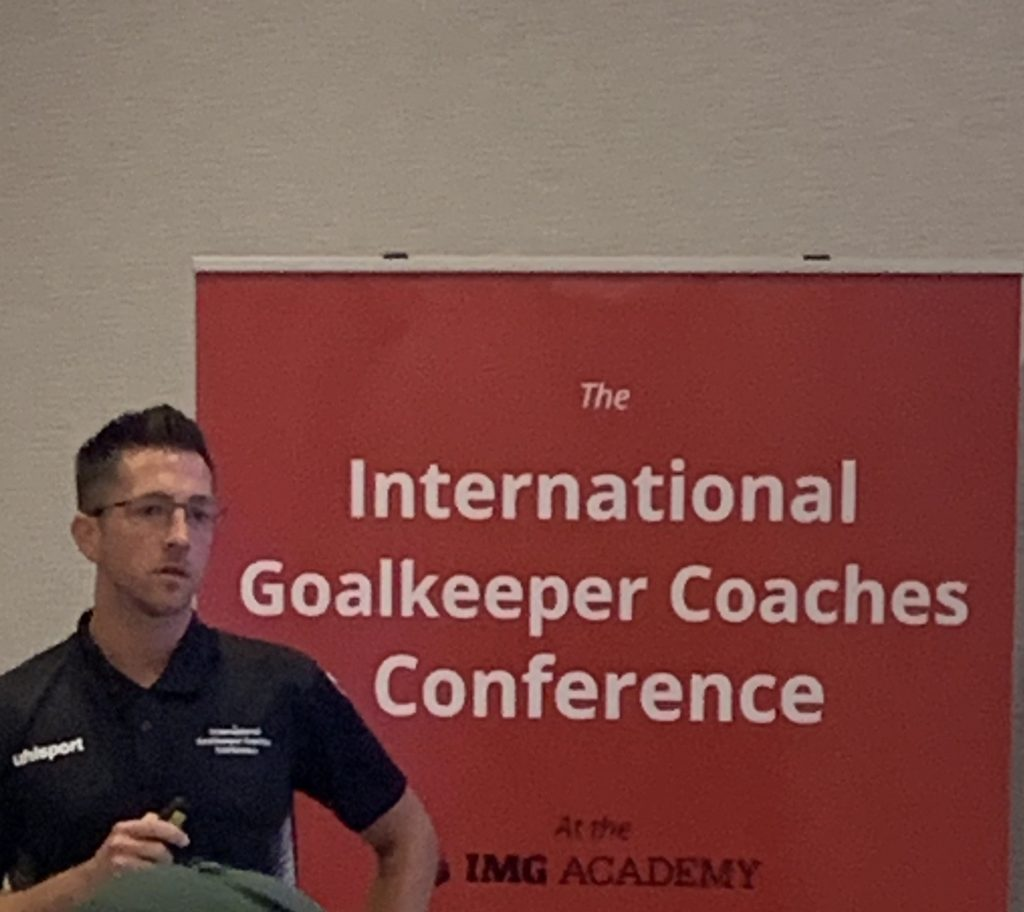Goalkeeper coach Andrew Sparkes from South Africa at the 2019 International Goalkeeper Coaches Conference IGCC19 in Florida Usa